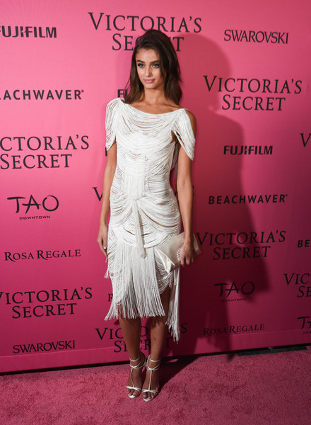 Taylor Hill Satin Clutch [victorias secret fashion after party,taylor hill,clothing,dress,fashion,pink,cocktail dress,premiere,footwear,fashion model,shoulder,flooring,new york city,tao downtown,carpet arrivals]