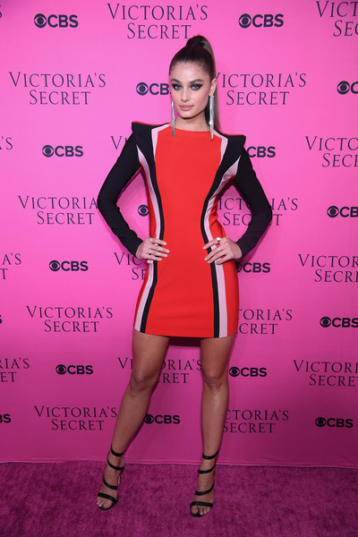 Taylor Hill Strappy Sandals [clothing,pink,cocktail dress,magenta,dress,fashion,carpet,footwear,red carpet,joint,new york city,victorias secret fashion show,victorias secret angels gather to watch,viewing party,victorias secret,angel taylor hill,spring studios]