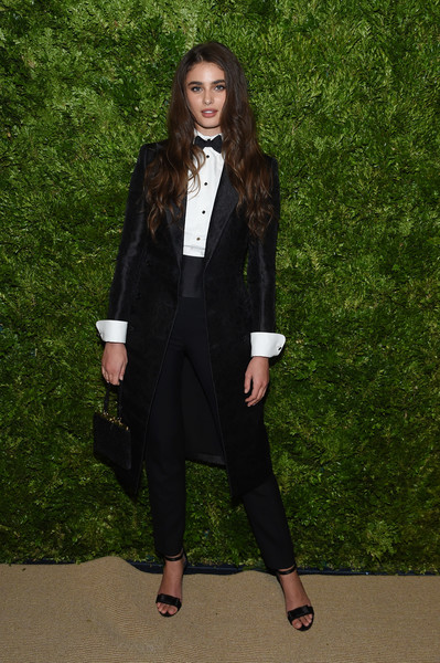 Taylor Hill Pantsuit [clothing,suit,formal wear,pantsuit,outerwear,blazer,tuxedo,fashion,coat,footwear,vogue fashion fund 2019 awards,new york city,cipriani south street,cfda,taylor hill]