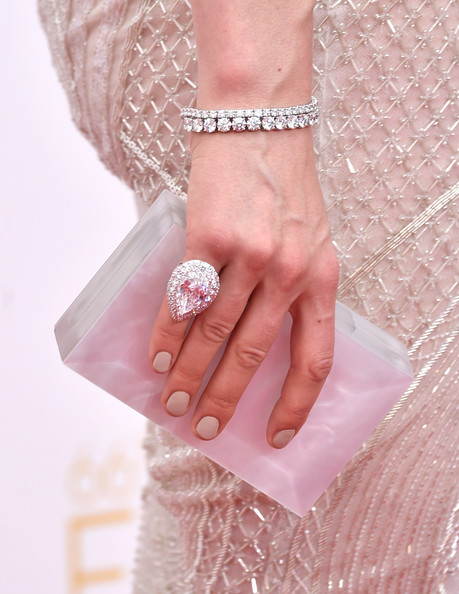 Taylor Schilling Box Clutch [pink,nail,finger,hand,fashion accessory,peach,jewellery,fashion,ring,dress,handbag,jewelry,taylor schilling,arrivals,part,detail,california,los angeles,nokia theatre l.a. live,primetime emmy awards]
