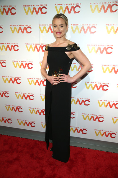 Taylor Schilling Off-the-Shoulder Dress [clothing,red carpet,carpet,dress,shoulder,flooring,premiere,cocktail dress,womens media awards,capitale,new york city,taylor schilling]