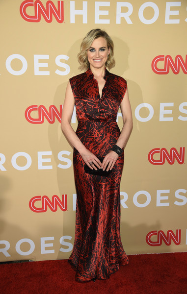 Taylor Schilling Print Dress [dress,clothing,red carpet,carpet,fashion model,premiere,shoulder,gown,fashion,formal wear,arrivals,cnn heroes 2015,red carpet arrivals,taylor schilling,new york city,cnn heroes,american museum of natural history]