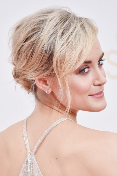 Taylor Schilling Diamond Studs [hair,beauty,blond,human hair color,chin,hairstyle,eyebrow,forehead,neck,long hair,arrivals,taylor schilling,california,los angeles,nokia theatre l.a. live,primetime emmy awards]