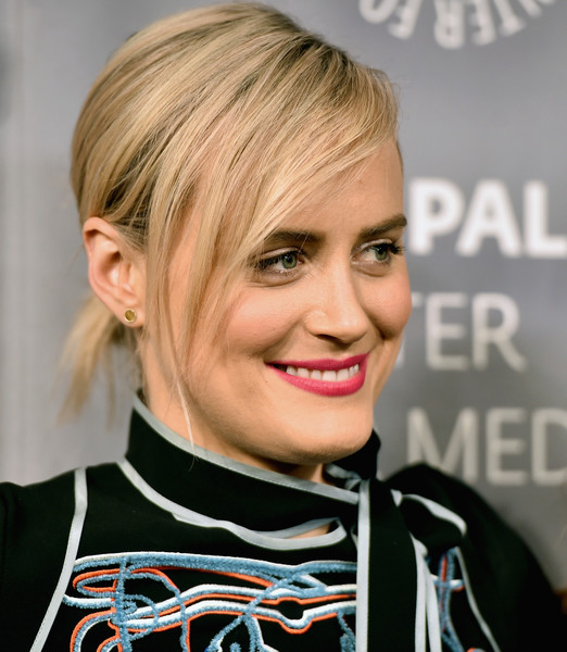 Taylor Schilling Gold Studs [orange is the new black,hair,face,blond,hairstyle,eyebrow,chin,bangs,lip,forehead,beauty,taylor schilling,arrivals,paleylive la,paleylive la,beverly hills,california,the paley center for media]