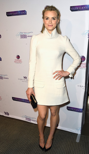 Taylor Schilling Pumps [clothing,cocktail dress,dress,white,shoulder,hairstyle,joint,fashion,leg,footwear,taylor schilling,shonda rhimes,arrivals,annual global womens rights awards,urban decay,pacific design center,west hollywood,california,feminist majority foundation,10th annual global womens rights awards]