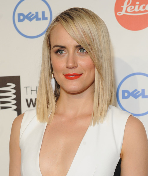 Taylor Schilling Medium Straight Cut with Bangs [hair,face,blond,hairstyle,lip,shoulder,skin,eyebrow,chin,beauty,arrivals,taylor schilling,new york,united states,webby awards,18th annual webby awards]