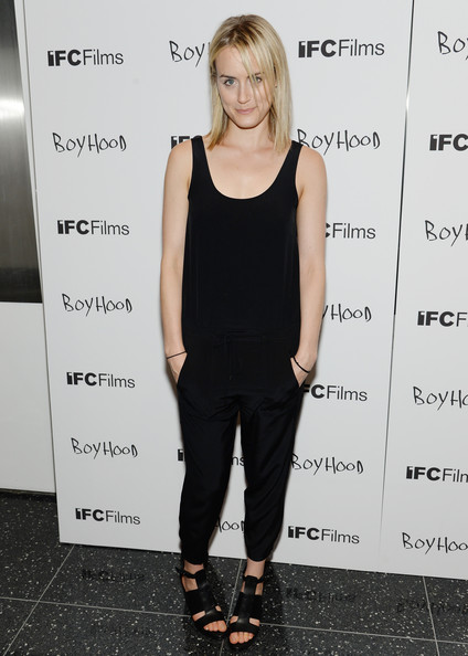 Taylor Schilling Jumpsuit [clothing,shoulder,dress,hairstyle,footwear,cocktail dress,joint,premiere,shoe,fashion design,taylor schilling,boyhood premieres,boyhood,nyc,museum of modern art,premiere]