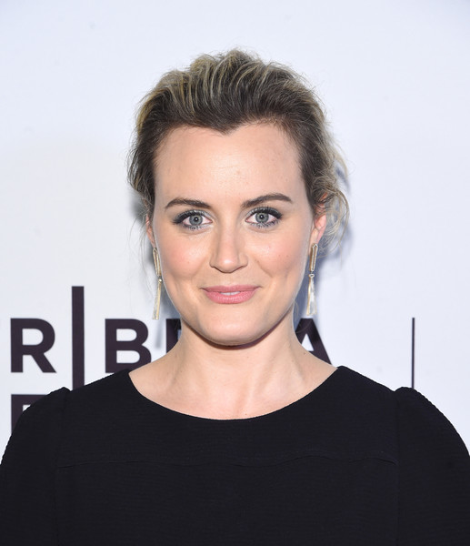 Taylor Schilling Loose Bun [take me premiere,hair,face,eyebrow,hairstyle,lip,chin,forehead,head,beauty,shoulder,taylor schilling,new york city,sva theater,tribeca film festival]