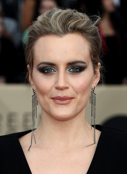 Taylor Schilling Loose Bun [hair,face,eyebrow,hairstyle,forehead,chin,lip,eyelash,nose,head,arrivals,taylor schilling,screen actors guild awards,los angeles,california,the shrine auditorium]