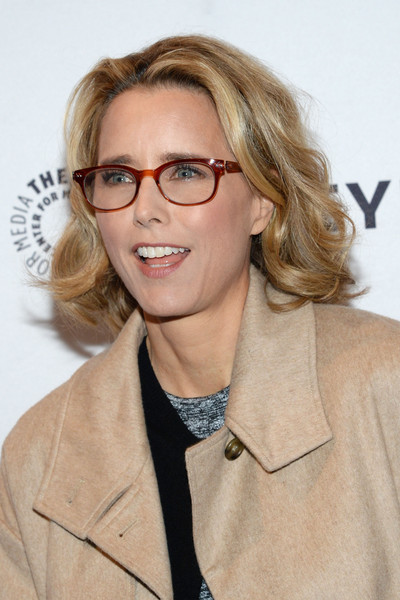 Tea Leoni Short Wavy Cut [paley center for media presents an evening with,eyewear,hair,glasses,hairstyle,blond,vision care,lip,outerwear,long hair,layered hair,new york city,paley center for media,tea leoni,madame secretary]