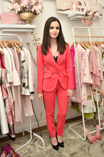 Vanessa Marano brought a bold pop of color to the Ted Baker London SS'18 launch with this raspberry jacket and trouser combo.