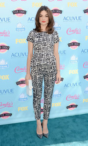 Crystal went for bold black-and-white when she wore this abstract print top and matching pants.