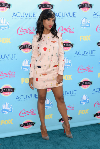 More Pics of Kerry Washington Long Wavy Cut with Bangs (1 of 7) - Kerry Washington Lookbook - StyleBistro