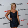 Shawn Johnson in a Blue Dress and Shoes