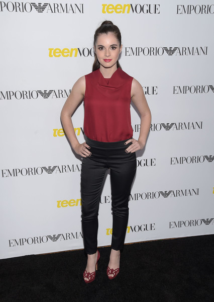 Vanessa Marano paired her blouse with shiny black cigarette pants, also by Emporio Armani.