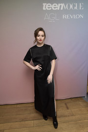Kaitlyn Dever gave her look an edgy finish with a pair of chunky black boots.