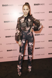 Sofia Carson looked very girly in a lace-panel floral blouse by Giambattista Valli at the 2019 Teen Vogue Summit.
