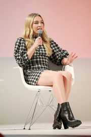 Florence Pugh gave her dress a heavy dose of edge with these black ankle boots for the 2019 Teen Vogue Summit.