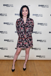 Lana Condor opted for a printed skirt suit by Anna Sui when she attended the Teen Vogue Summit.