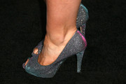 Kaitlyn Jenkins finished off her look with a glam pair of sparkly blue platform peep-toes.
