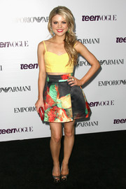 Bailey Buntain brought a lovely mix of colors to the Teen Vogue Young Hollywood party with this print mini skirt and yellow crop-top combo.