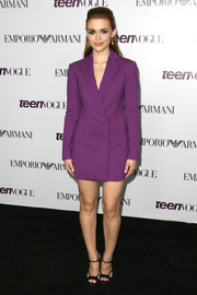 Holland Roden made business wear look so chic with this purple Emporio Armani blazer dress she wore to the Teen Vogue Young Hollywood party.