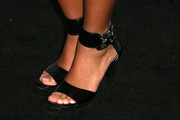 Amandla Stenberg looked mildly edgy in her black patent leather sandals with wide ankle straps during the Teen Vogue Young Hollywood party.