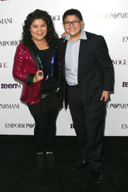 Raini Rodriguez brought major sparkle to the Teen Vogue Young Hollywood party with her sequined pink tux jacket.