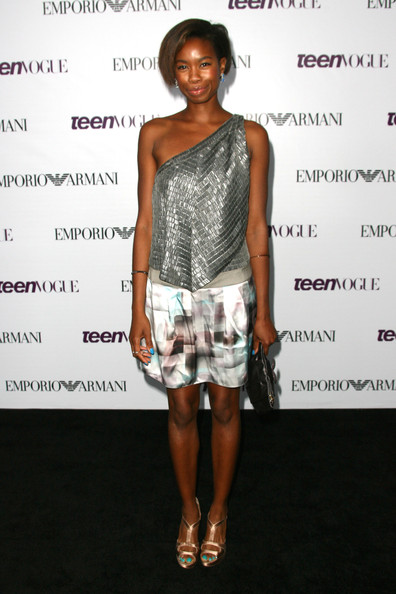 Tolula Adeyemi looked fabulous in a textured silver one-shoulder top and a print mini skirt at the Teen Vogue Young Hollywood party.