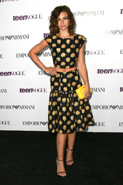 Alyson Michalka looked girly and trendy in a printed crop-top and a matching skirt at the Teen Vogue Young Hollywood party.