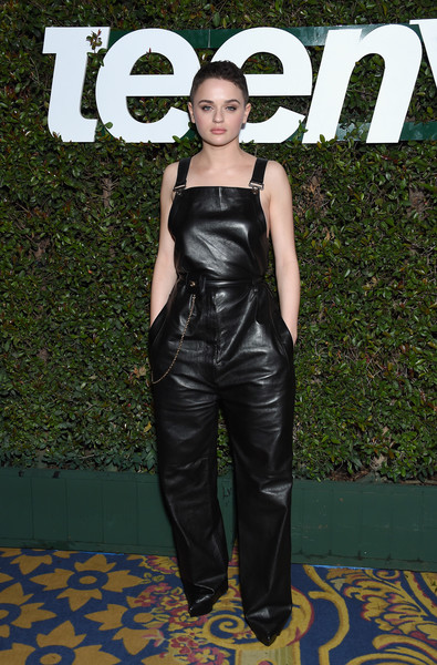 Joey King was tomboy-chic in black leather overalls by Ferragamo at the Teen Vogue Young Hollywood party.