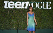 Marsai Martin looked festive in an ombre sequined dress by Tadashi Shoji at the Teen Vogue Young Hollywood party.