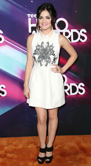 Lucy Hale got graphic with it at the 2012 Halo Awards in this floral-print collared dress.