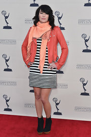 Lena Headey opted for a cool mod look with this black and white striped dress.