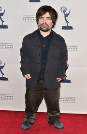 Peter Dinklage opted for a cool and casual look with this gray utility-style jacket.