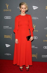 Sarah Paulson went for old-school elegance in this long-sleeve red frock by Bella Freud at the Television Academy reception for Emmy-nominated performers.