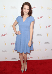 Rachel Brosnahan chose a simple yet sweet pastel-blue dress for the cocktail reception celebrating the 67th Emmys.