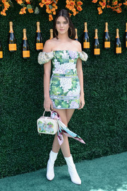 Kendall Jenner looked totally charming in a floral off-the-shoulder mini dress by Dolce & Gabbana at the Veuve Clicquot Polo Classic.