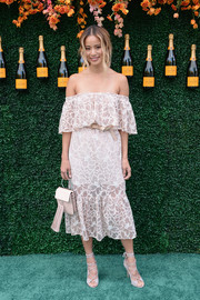 Jamie Chung looked heavenly in a white lace off-the-shoulder dress by storets at the Veuve Clicquot Polo Classic.