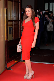 Michelle Heaton was spotted at the Tesco Magazine Mum of the Year 2012 in a red wrap dress.