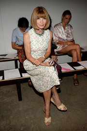 Anna Wintour kept it ladylike in a sleeveless floral dress during the Thakoon fashion show.