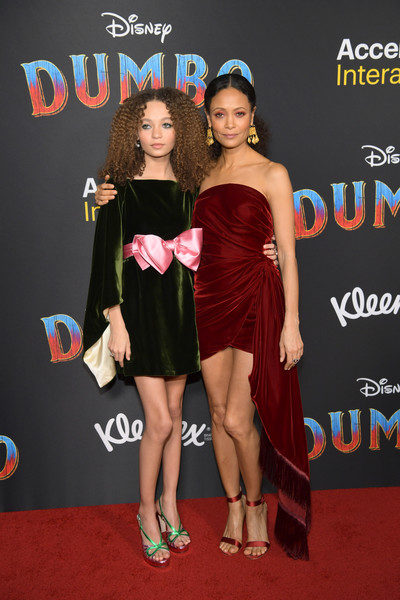 Thandie Newton Strapless Dress [clothing,dress,cocktail dress,premiere,red carpet,carpet,little black dress,event,footwear,flooring,arrivals,nico parker,thandie newton,dumbo,california,los angeles,el capitan theatre,disney,premiere,premiere]