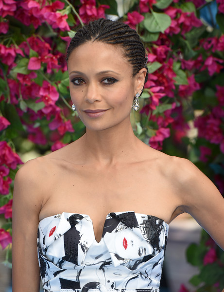 Thandie Newton Braided Updo [mamma mia,here we go again,hair,beauty,hairstyle,shoulder,lip,dress,fashion,strapless dress,eyelash,plant,mamma mia,thandie newton,here we go again world premiere,london,england,hammersmith,eventim apollo,world premiere]