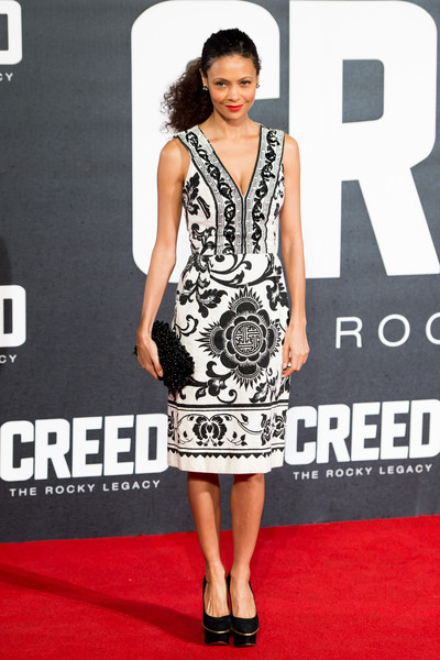 Thandiwe Newton Beaded Clutch [cinema,fashion model,clothing,dress,carpet,red carpet,premiere,cocktail dress,fashion,shoulder,black-and-white,red carpet arrivals,carpet,thandie newton,red carpet,fashion,european,creed,premiere,european premiere,thandiwe newton,mission: impossible 2,nyah nordoff-hall,height,human height,size,red carpet,weight,fashion,measurement]