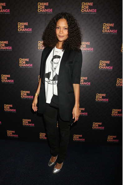 Thandiwe Newton Skinny Pants [chime for change: the sound of change live,clothing,suit,formal wear,pantsuit,carpet,tuxedo,blazer,outerwear,red carpet,event,royal box arrivals,thandie newton,frida giannini,for change,red carpet,royal box,gucci,committee,photo wall,thandiwe newton,red carpet,actor,the sound of change live,celebrity,fashion,blazer,image,dress,lookbook]
