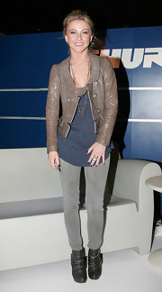 Julianne Hough's leather jacket had more of a feminine feel to it, which made her casual look slightly dressy.