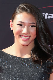 Kyla Ross' deep side sweep kept her raven locks red carpet chic.