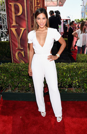 Liz Hernandez flashed some cleavage in a low-cut white jumpsuit during the ESPYs.