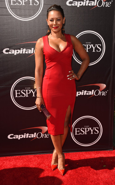 Melanie Brown went for a matchy-matchy finish with a pair of red pumps.