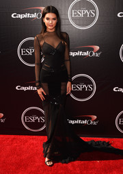 Kendall Jenner worked the ESPYs red carpet in a seductive sheer-panel black gown by Alexandre Vauthier Couture.